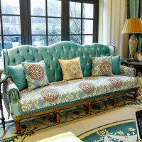 欧式沙发垫布艺坐垫冬季客厅皮沙发垫四季防滑沙发套定做 天蓝色 星辰物语
