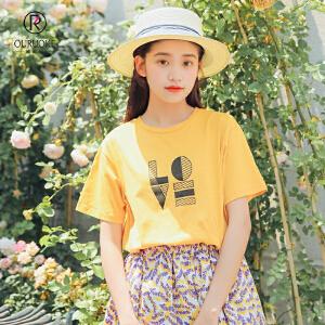 欧若珂  2018夏季新款简约字母印花休闲圆领半截袖学生短袖T恤女