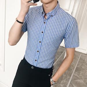 夏季新款韩版修身男装半袖衬衫条纹潮流短袖休闲衬衣20