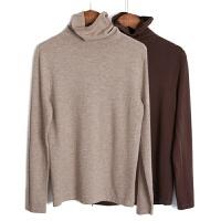 欧美简约堆堆领毛衣秋显瘦高领针织衫纯色打底衫薄内搭毛衫女 均码