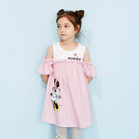 【1件2.5折到手价:57.3】moomoo童装女童裙子夏季新款迪士尼女童连衣裙拼接设计女大童裙子