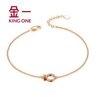 金一珠宝 18K玫瑰金钻石手链女款时尚简约腕饰链子需定制