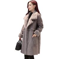 棉衣女中长款韩版2018新款冬季加厚加绒修身鹿皮绒羊羔毛外套