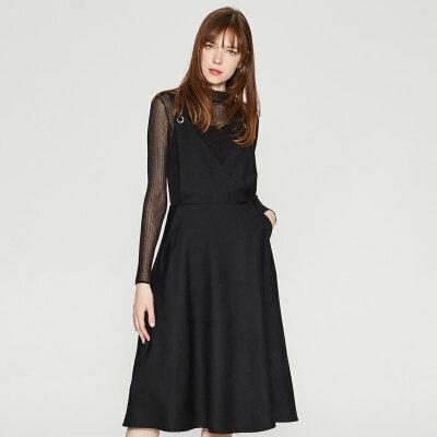 【全场2件2.5折,到手价:174.8】纯羊毛MECITY女装新款V领背带半裙 新年换新衣,过年不打烊!!!