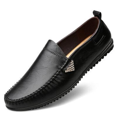 秋季男士休闲皮鞋男软底软面皮商务男鞋冬季百搭牛皮豆豆鞋子