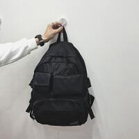 男士时尚帆布书包多口袋背包青少年书包中学生校园韩版双肩电脑包 黑色