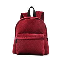 新款新品丝绒包包女双肩包女复古包菱格女包电脑包背包袋 酒红色