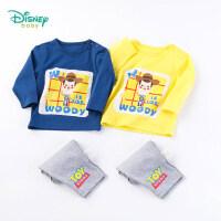 【2件3.8折到手价:60.5】迪士尼Disney童装男童纯棉T恤套装春季新品玩具总动员印花长袖裤子两件套191T87