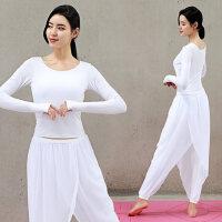 �n版女士假�杉�舞蹈演出服�@瘦瑜珈服健身棉 新款�白色瑜伽服套�b女