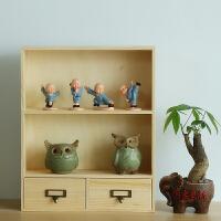 木质桌面抽屉式化妆品收纳盒 大号整理储物盒收纳箱置物架可悬挂 原木色大展示架