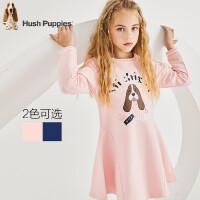 【2件5折:142】暇步士童装秋季新款女童长袖连衣裙时尚印花长袖连衣裙儿童长袖连衣裙