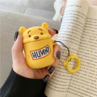 卡通可爱黄色小熊Airpods耳机套个性创意指环手绳苹果无线蓝牙耳机边airpods1/2通用保护套 英文维尼熊耳机包