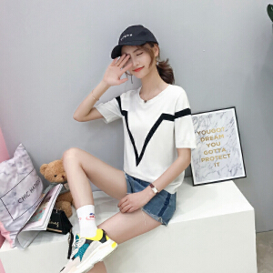 2018夏季韩版宽松显�C拼色套头圆领短袖薄冰丝针织衫T恤上衣女潮