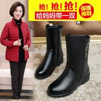 2018新款冬季妈妈棉鞋加绒保暖中老年女鞋平底真皮冬款老年中筒靴SN1735 黑色 薄绒