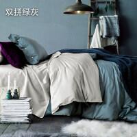 四件套全棉纯棉简约60s长绒棉床单被套床笠款1.8m米双人床上用品4