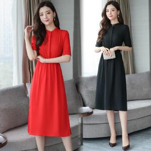红色连衣裙2018新款女装春款群子2017韩版显瘦高腰气质雪纺夏季潮