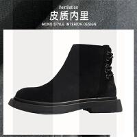2018新款马丁靴女英伦风百搭短靴网红瘦瘦靴短筒平底加绒女鞋靴子SN0261 黑色 单里