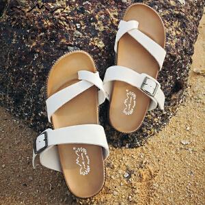 玛菲玛图拖鞋女夏外穿夏季2018新款打蜡牛皮休闲套趾一字中跟防水台沙滩鞋M198116012T15