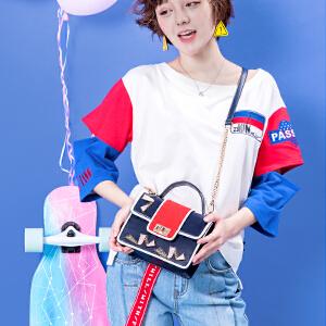 outou2017新款包包女韩版个性拼接撞色手提小方包单肩斜挎链条包