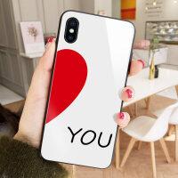 ILoveYou爱心苹果7plus手机壳秀恩爱情侣款iPhone6S保护套XS MAX简约彩绘8镜面 XS MAX白底