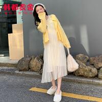韩都衣舍2020韩版女装春装新款韩版吊带内搭中长款连衣裙CQ9462�_