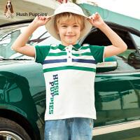 【3件3折:99元】暇步士童装男童T恤夏装新款儿童短袖POLO衫洋气条纹翻领上衣