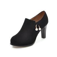 WARORWAR法国YG11-512新品冬季欧美磨砂牛皮反绒皮真皮粗跟中高跟鞋女士靴子裸靴