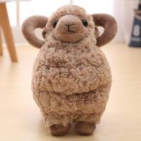 超萌可爱仿真小绵羊公仔羊玩偶羊驼毛绒玩具小娃娃生日礼物女孩