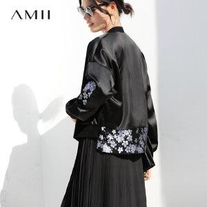 【到手价:194.9元】Amii极简港风chic休闲棒球外套2019春新款织锦缎落肩袖拉链短外套