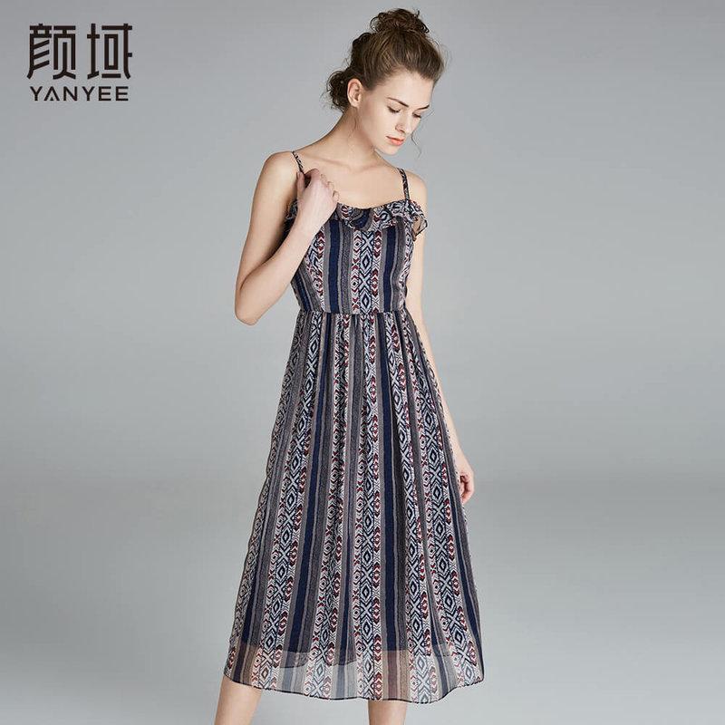 颜域印花条纹吊带连衣裙长款复古收腰背心裙2018夏季新款女装长裙