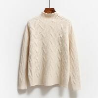 高领毛衣女秋冬宽松套头加厚短款麻花羊绒打底针织衫 均码