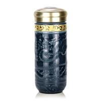 乾唐轩活瓷杯鎏金大尊龙随身杯双层 陶瓷水杯杯子商务礼品