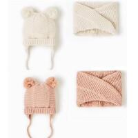 秋冬季女童纯棉帽子围脖宝宝米白色棉线保暖针织帽