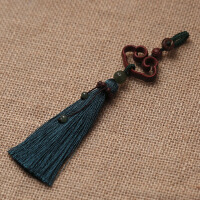 高档小叶紫檀木汽车钥匙扣 纯手工编绳流苏车内钥匙链挂饰品女款 咖啡色