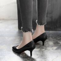 软皮鞋细跟单鞋浅口低跟职业空姐工作鞋女中跟黑色正装高跟鞋