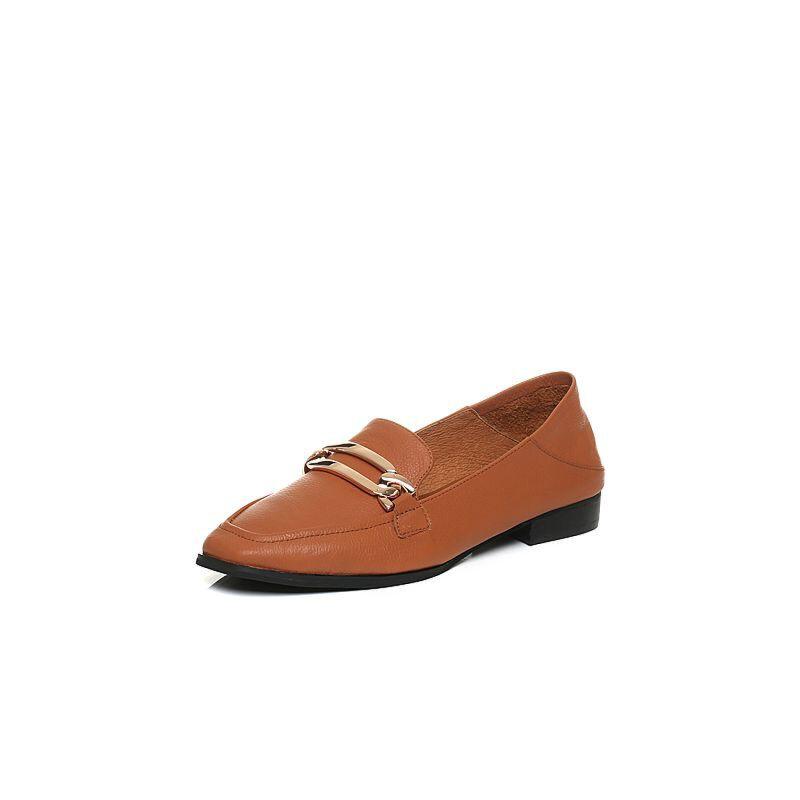 Teenmix/天美意2018春专柜同款牛皮方跟穆勒乐福鞋女单鞋CCM01AQ8