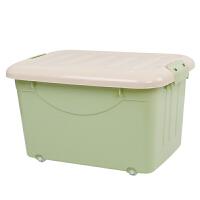 收纳箱大号书箱子收纳箱带轮塑料整理放装书本盒学生教室有盖胶箱储物箱