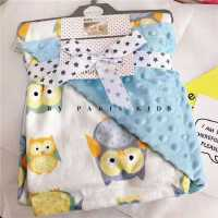 ???宝宝毛毯豆豆毯春夏婴儿印花双层法兰绒珊瑚绒抱毯儿童空调盖毯子