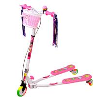 【当当自营】炫梦奇儿童滑板车 蛙式滑板三轮车 可调高低 彩虹闪光轮 粉色