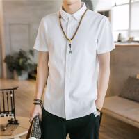 201808232323166862018夏季纯色亚麻短袖衬衫男士韩版休闲白色衬衣百搭寸衫 白色 CS7070