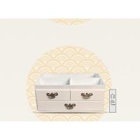 家居生活用品大容量复古桌面木质化妆品收纳盒木制家用梳妆台护肤盒抽屉式带镜 白色 大号