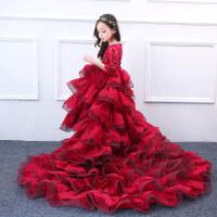 女童公主裙大红色花童礼服表演服长裙蓬蓬裙拖尾婚纱 酒红色