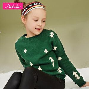 【3件3折到手价:62元】笛莎女童针织衫2018冬季新款中大童印花毛衣儿童长袖套头针织衫