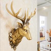 招财鹿头墙壁挂件壁饰欧式创意玄关客厅酒吧背景立体装饰