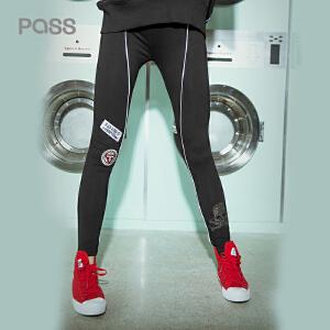 PASS2018春秋装新款打底裤女外穿修身黑色保暖裤子6812031018
