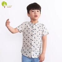 【当当自营】贝康馨 BabyComfort 韩版童装 2016夏季新款童衬衣 男童纯棉短袖花衬衫