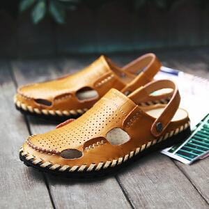 卡帝乐鳄鱼 2018新款男士软底包头凉鞋男真皮拖鞋休闲沙滩鞋洞洞鞋韩版潮