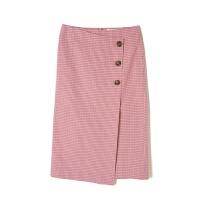 韩单设计师春夏款纯棉透气面料细格纹格子半身裙过膝长裙腔调女裙
