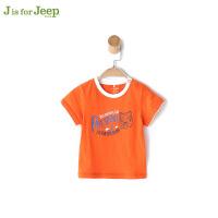 【跨店每满200减100】jeep童装 男童短袖T恤小童宝宝夏装新款字母印花上衣潮