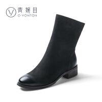 青婉田2017冬新款真皮英伦风马丁靴皮靴短靴女复古女靴粗跟倒靴